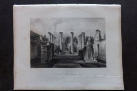 Fisher (Pub) 1844 Antique Print. A Private House, Pompei, Italy